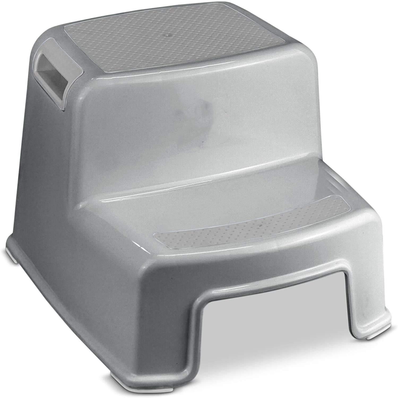 grau-grau perfekt f/ür das Badezimmer und das Toilettentraining Tritthocker f/ür Babys und Kleinkinder