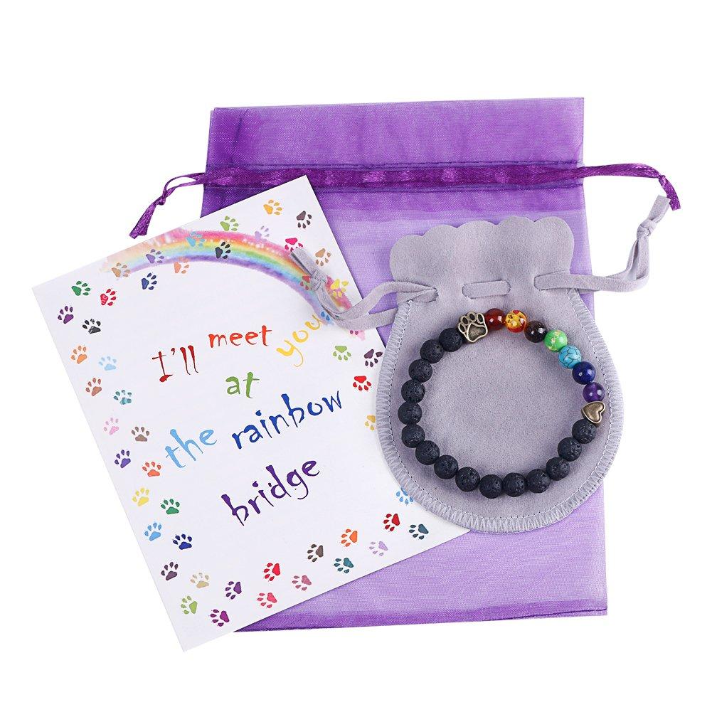 ESDAMIER Pet Memorial Bracelet Gift-Rainbow Bridge Nature Lava Bead Bracelet in Loving Memory of Your Beloved Pet Dog Cat by EASTDAMO