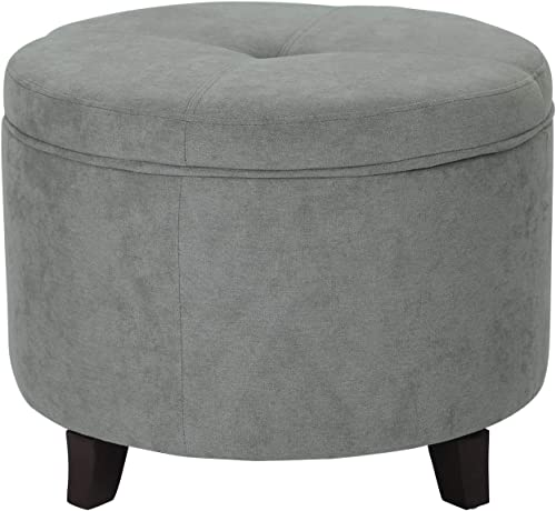 Furnistar 24 Modern Button Round Fabric Storage Ottoman Foot Stool Gray
