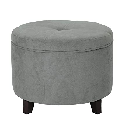 Astounding Joveco Accent Storage Ottoman Lift Top Round Fabric Footstool Grey Ottoman Stool Caraccident5 Cool Chair Designs And Ideas Caraccident5Info