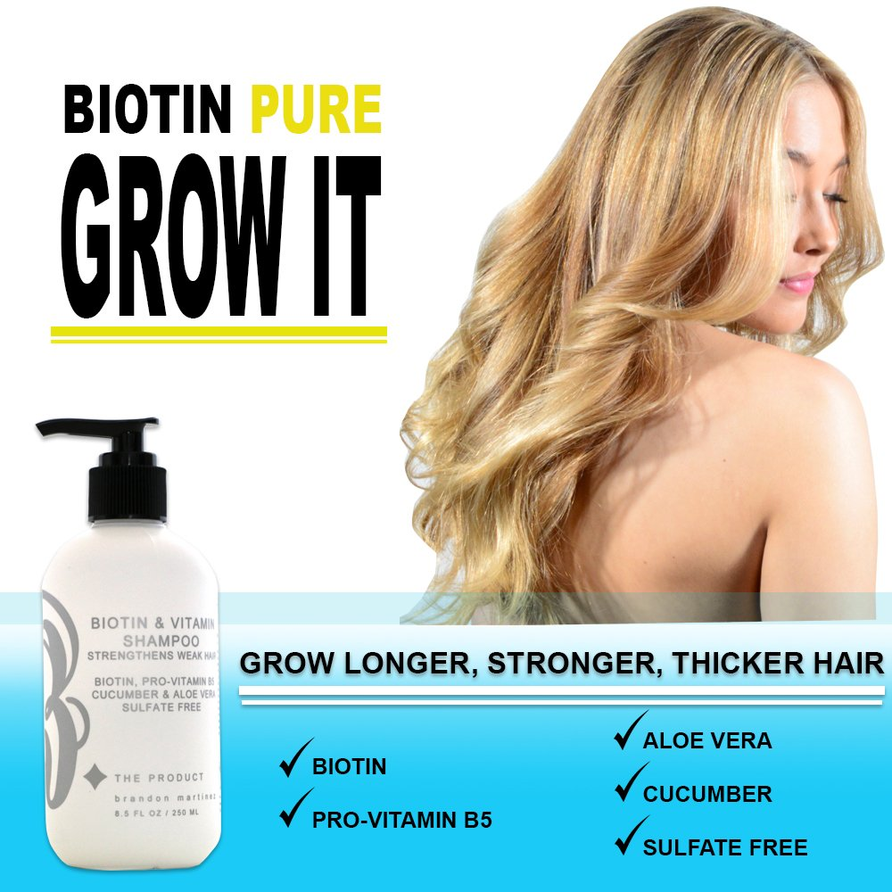 Biotin Hair Growth Shampoo-Biotin Vitamin Shampoo For Hair Loss And Thinning Hair, Sulfate Free Aloe Vera Cucumber Extract With Pro Vitamin B, B. the product 8.5oz. by B THE PRODUCT (Image #8)