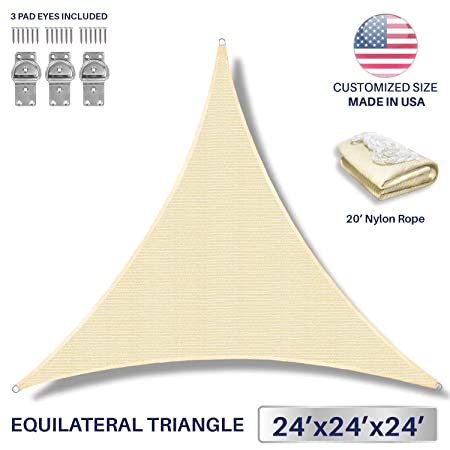 Windscreen4less 24 x 24 x 24 Sun Shade Sail Canopy in Beige with Commercial Grade 3 Year Warranty Customized