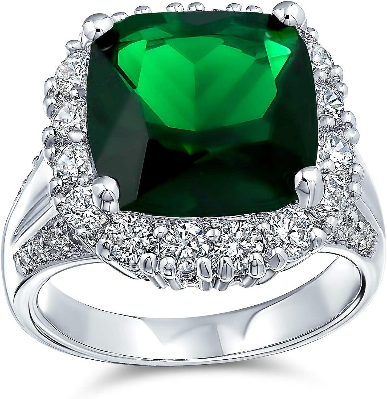 Bling Jewelry 7TC zircone cubique Green Emerald Cut simul/ées CZ Mode Cocktail Coupe Coussin Bague D/éclaration pour Les Femmes Argent plaqu/é