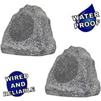 "Theater Solutions 2R6G Outdoor Granite 6.5"" Rock 2 Speaker Set for Deck Pool Spa Yard Garden"