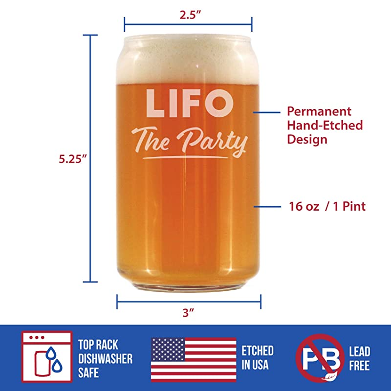 16 oz Glasses Beer Can Pint Glass Unique Accounting Gift for CPA LIFO the Party Funny Accountant Gifts