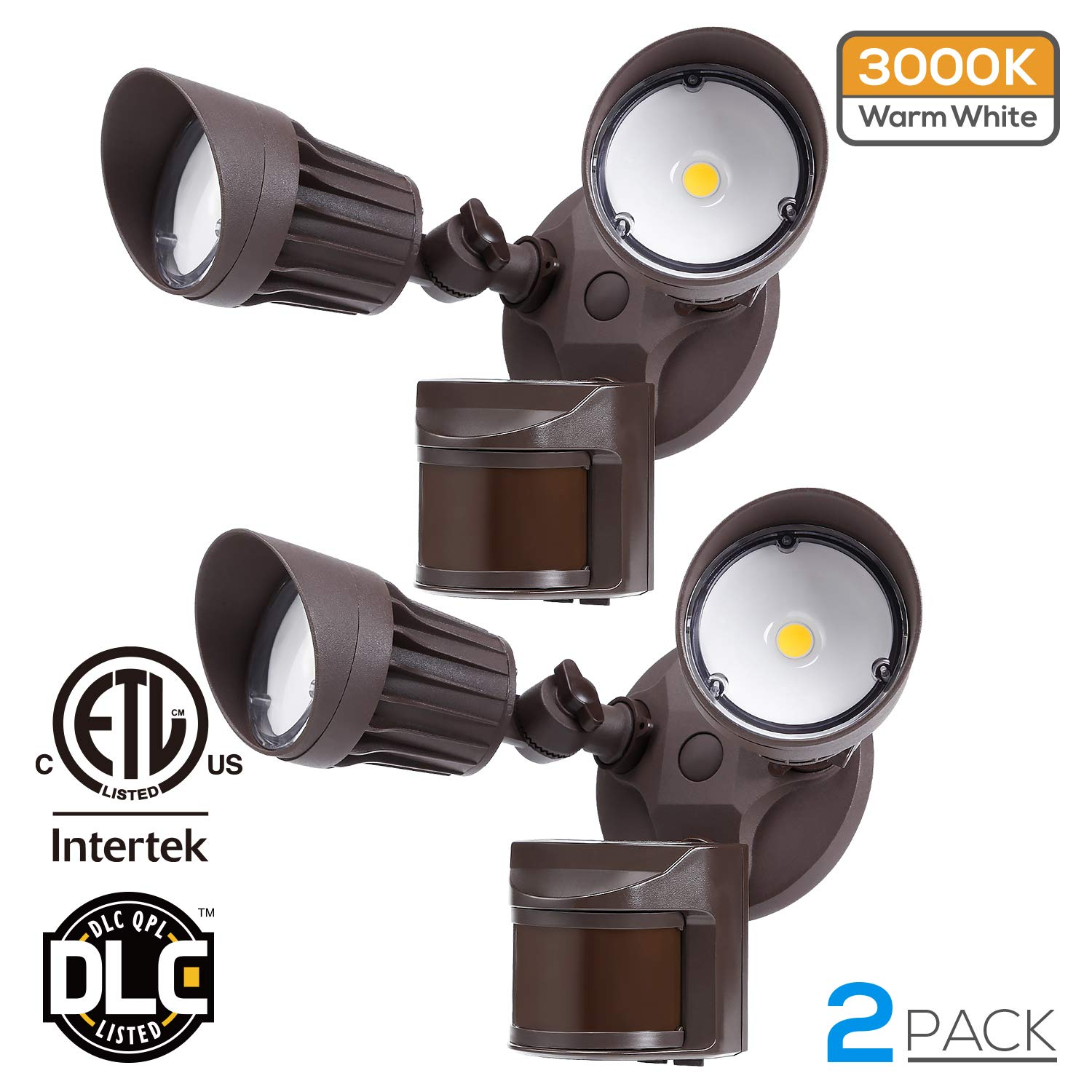 LEONLITE 20W Dual-Head Motion-Activated LED Outdoor Security Light with Photocell, ETL & DLC Listed, 3 Lighting Modes, 120W Equiv, 3000K Warm White, Waterproof, 5 Years Warranty, Bronze, Pack of 2