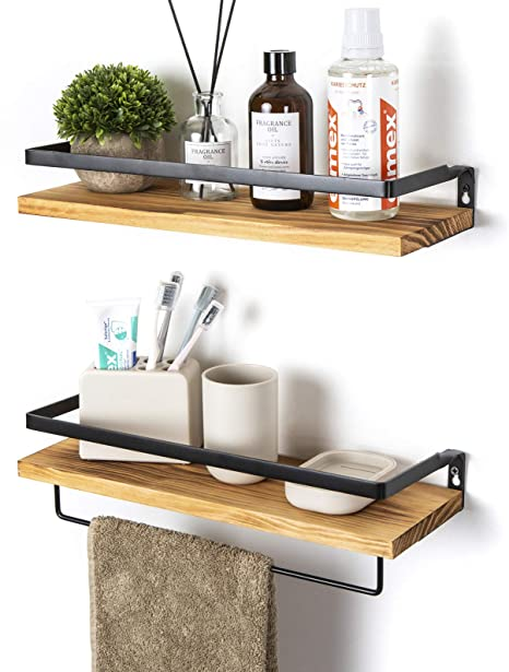 SODUKU Floating Shelves Wall Mounted Storage Shelves for Kitchen, Bathroom,Set of 2 Carbonized Black best bathroom storage solutions