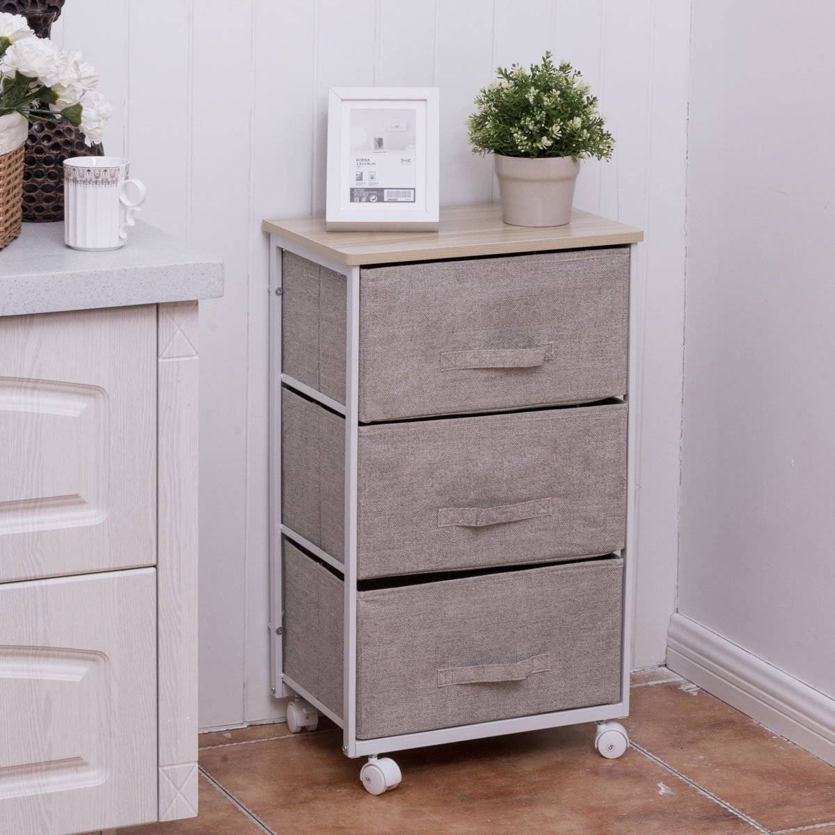 Costway 3/4 Drawer Storage Unit Fabric Bedside Table Cabinet Organizer Cart Bedroom Office Indoor Home (3 Drawers(S))