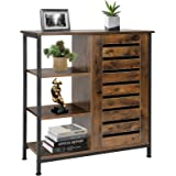 Bathroom Storage Cabinet with Open Compartments, Rustic Wooden Free Standing Organizer, Dresser Storage Cabinet for Bathroom