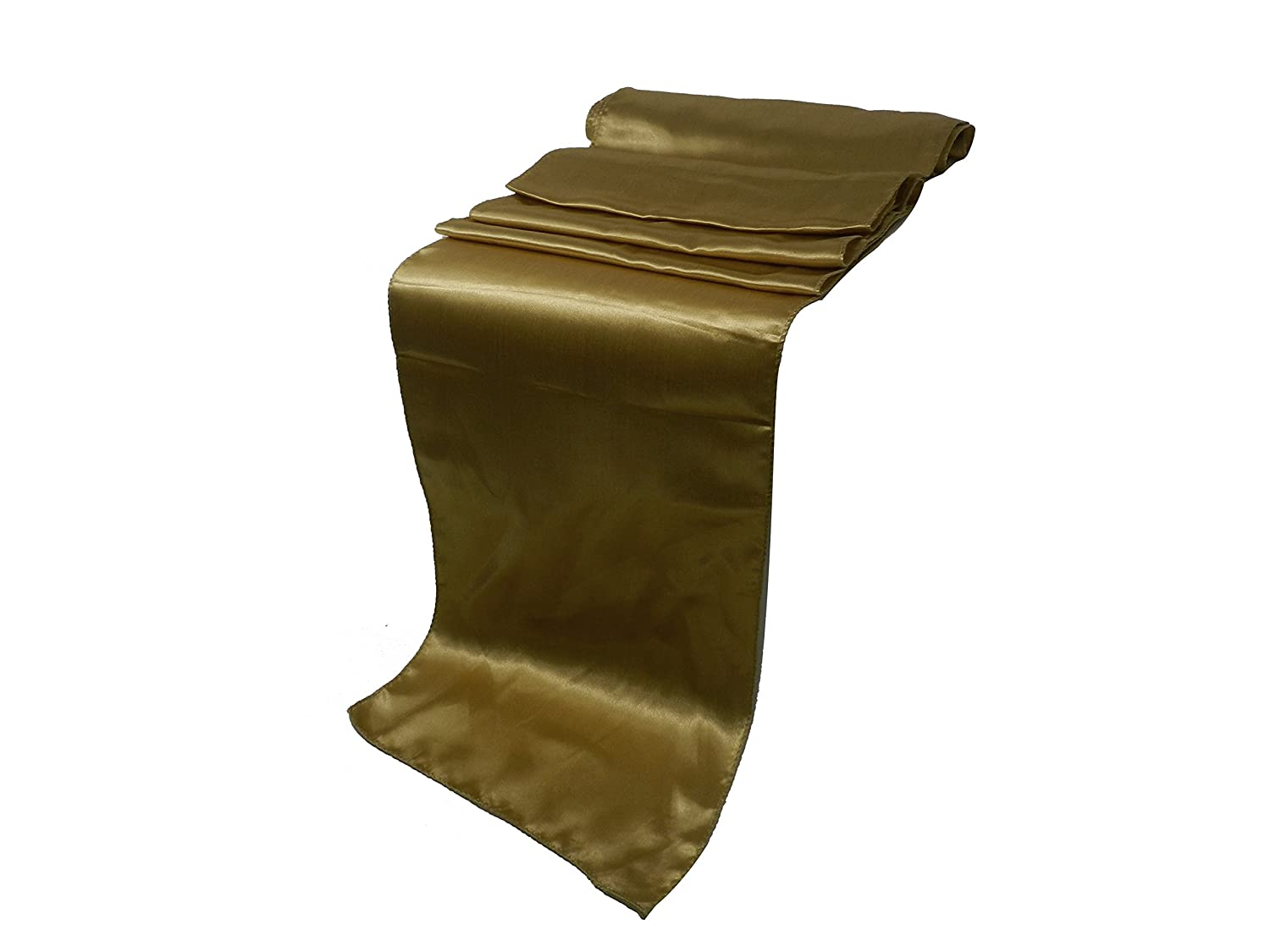 Elina Home Pack of 30 Satin 12' x 108' Table Runner For Wedding Banquet Kitchen HomeDecor Elina Fashion SATIN-GOLD-3012