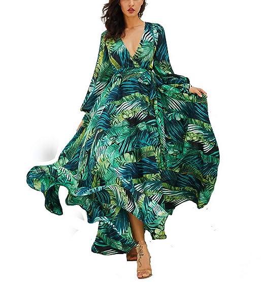 sélection premium en gros fabrication habile AOOPOO Femme Robe Longue D'été Bohême Maxi Robe Feuille Verte Imprimé  Floral Col V Robe de Plage Robe de Vacances Ceinture