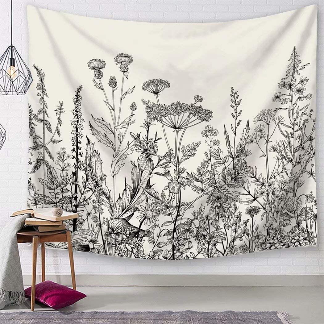 TSDA Black and White Flower Tapestry Wildflower Plant Wall Hanging Floral Botanical Nature Tapestry Decor for Bedroom Dorm (Small-59 x 51 In)