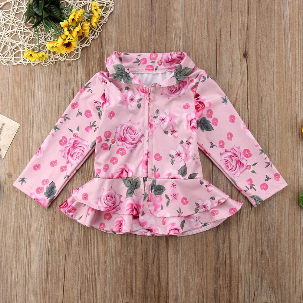 Baby Toddler Kid Girls Floral Long Sleeve Ruffle Autumn Warm Outwear Jacket Outfits