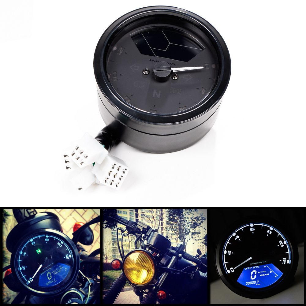 All-in-one 12000 rpm MPH Blue LED Backlight Digital Signal LCD Odometer Speedometer Tachometer 199 kmh for Motorcycle Custom Cruiser Café Racer