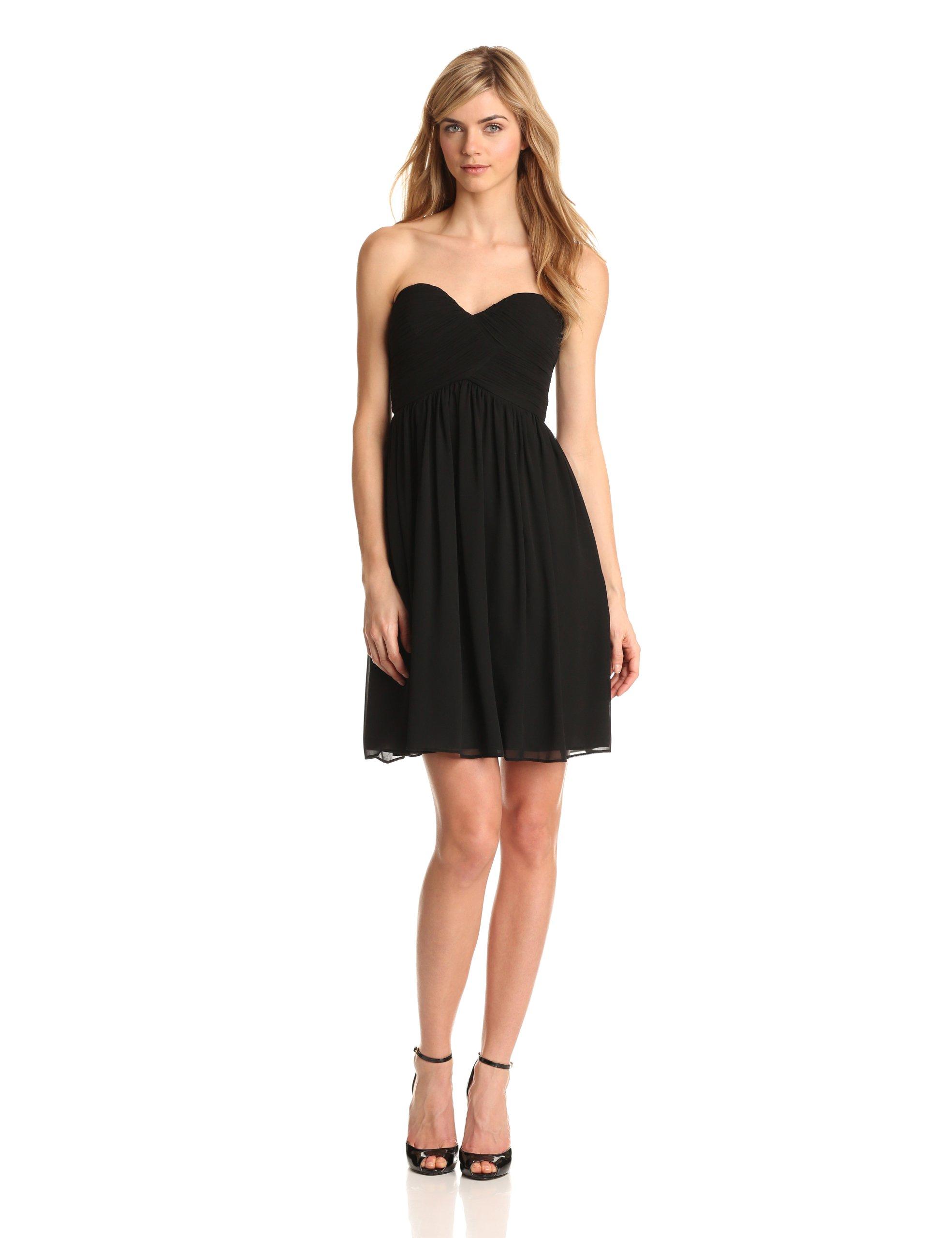 Donna Morgan Women's Strapless Sweetheart Chiffon Dress, Black, 4