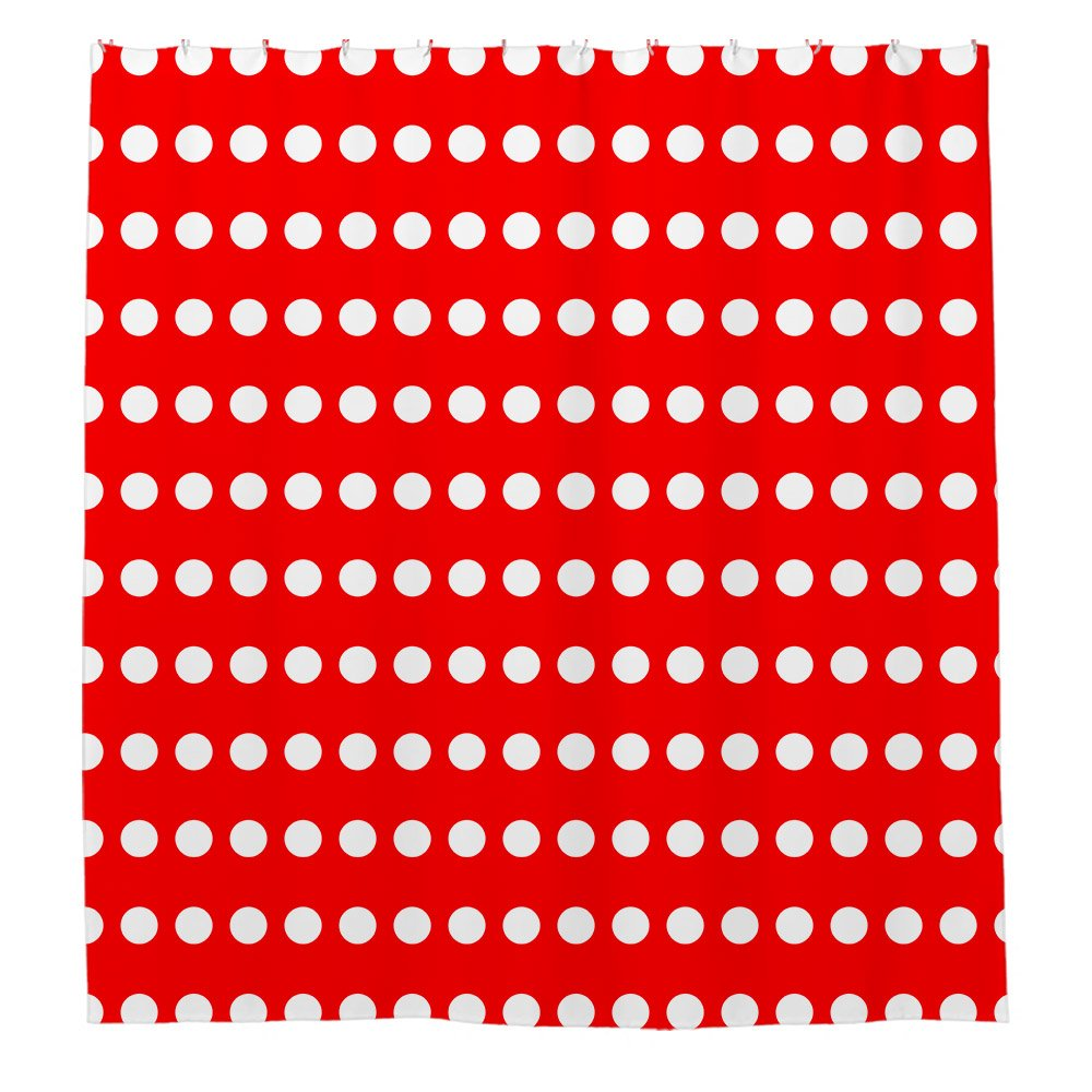 low-cost Angelly Red And White Polka Dot Shower Curtain ...
