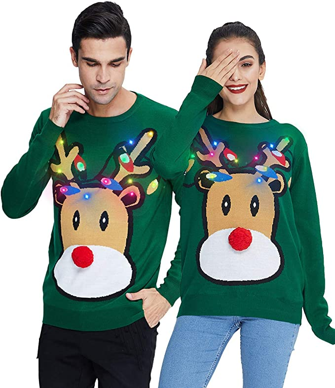 Ugly light up Christmas Sweater Men Women Funny Long Sleeve Pullover Best Ugly Christmas Sweaters Ever for couples