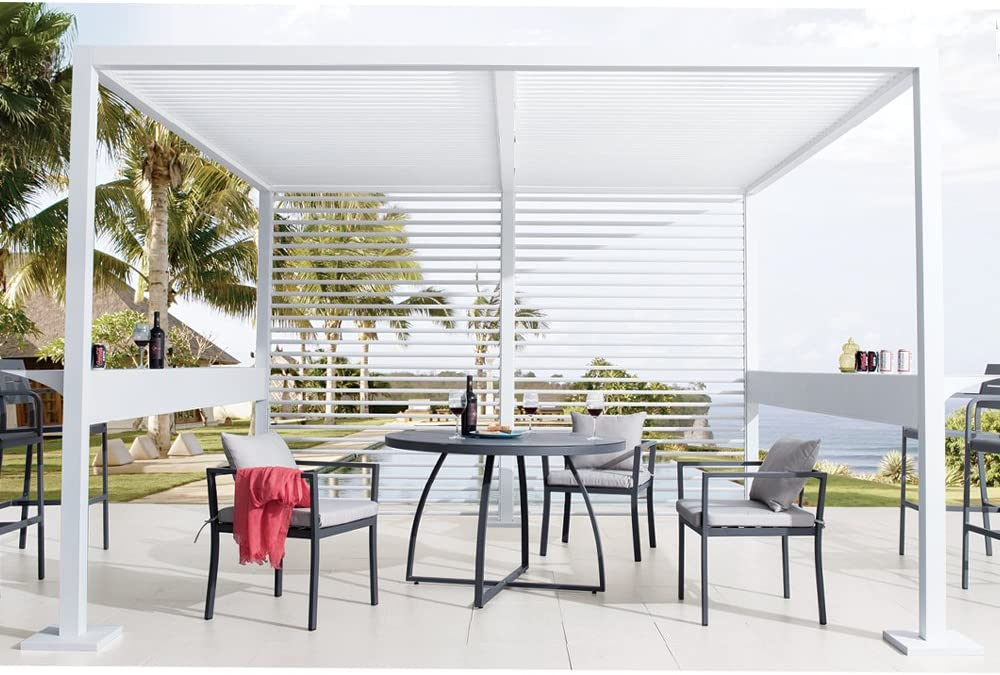 Evergreen Scientific Cenador Pergola 3, 5 x 3, 5mt Aluminio Blanco diseño Muebles Exterior jardín 51148: Amazon.es: Jardín