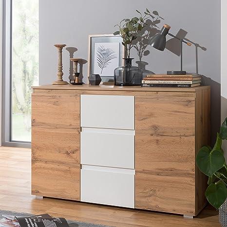 Kommode mit 6 Schubladen 140cm Möbel Schrank Sideboard Schubladenschrank  Sonoma