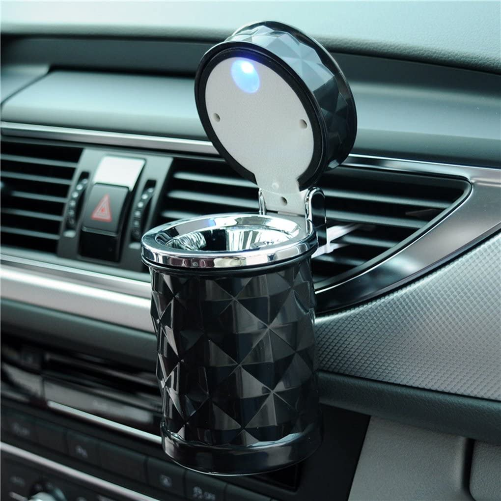 Auto Car Ashtray Portable with Blue LED Light Lighter Ashtray Smokeless Smoking Stand Cylinder Cup Holder (Black)