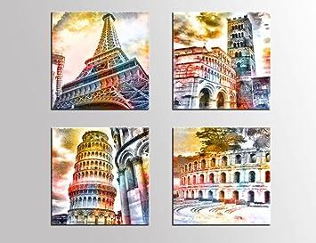 Canvas Wall Art Famous Architecture Painting Building Prints 12quot X 4 Pieces