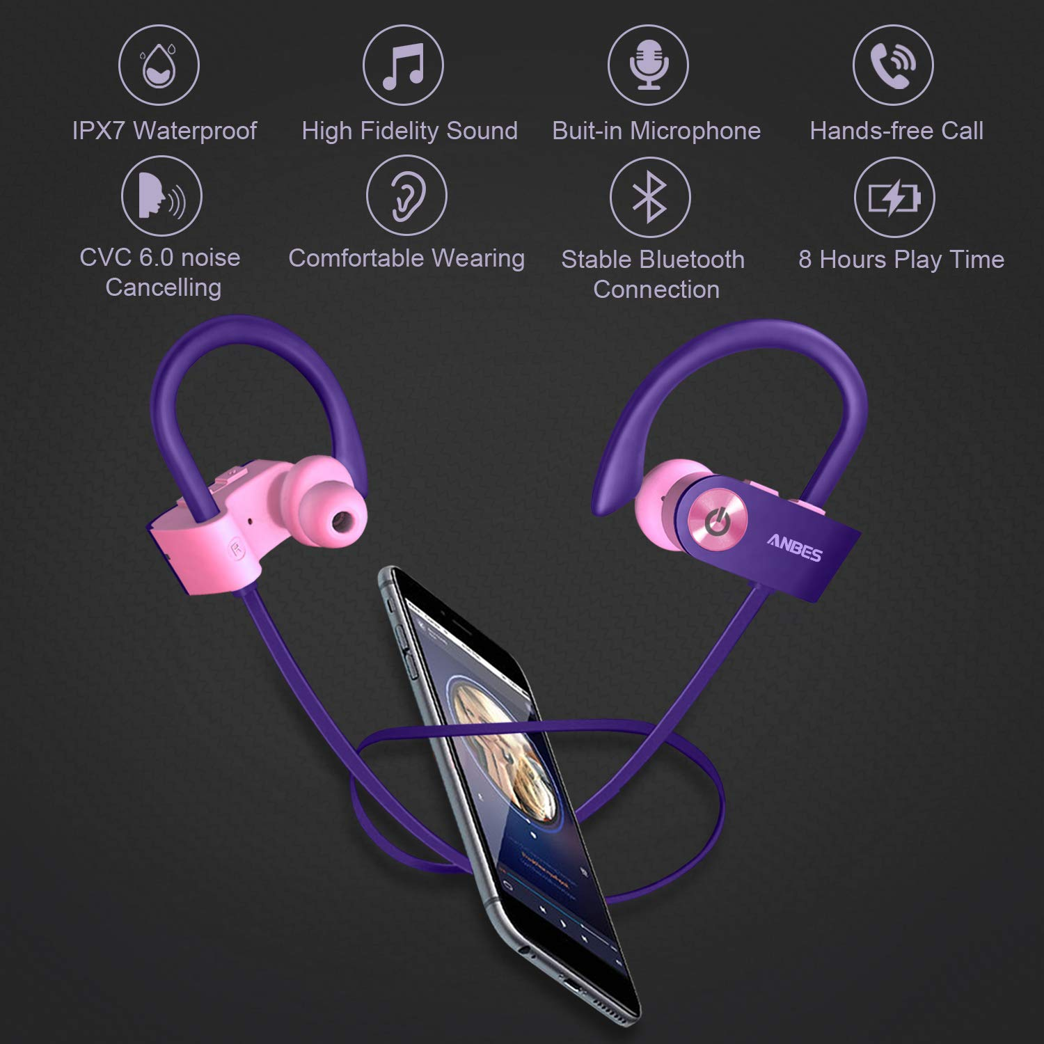 Bluetooth Headphones 8 Hours Battery Noise Canceling Headsets Anbes Wireless Earbuds IPX7 Waterproof Sports Earphones with Ear Hooks /& Mic HD Stereo in-Ear Headphones Gym Running Workout