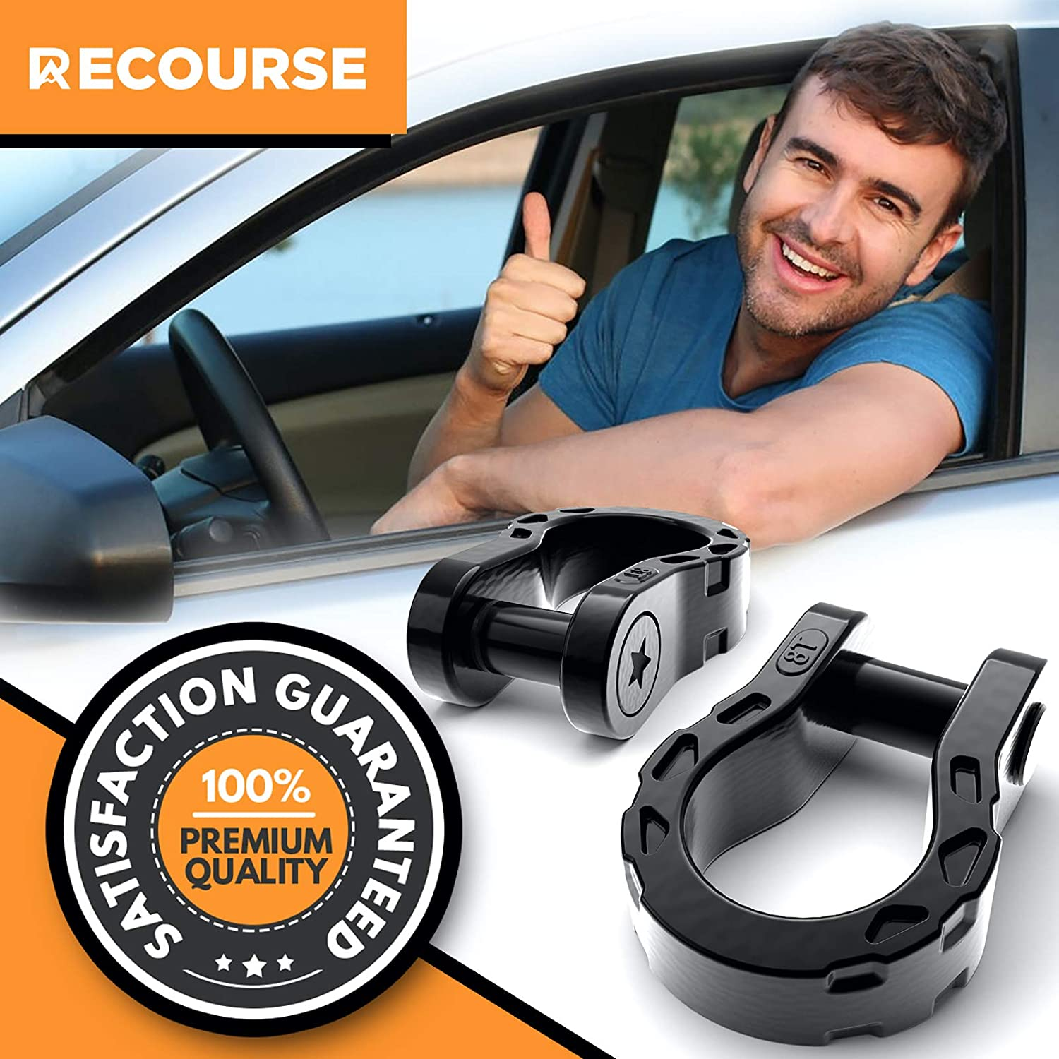 Tow Strap Shackles 3//4 D Ring Shackle with 7//8 Security Pin Anti Theft Offroad Accessories for Jeep Vehicle Recovery Maximum Break Strength 2 Shackles and 1 Screw Key 68,000 lbs