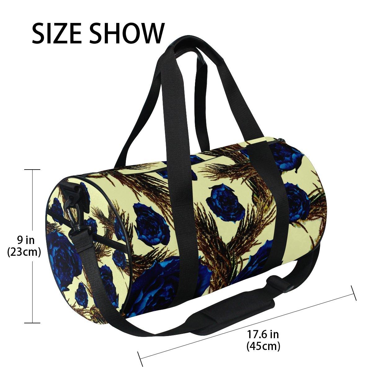 Gym Bag Blue Rose Sports Travel Duffel Lightweight Canvas Bags
