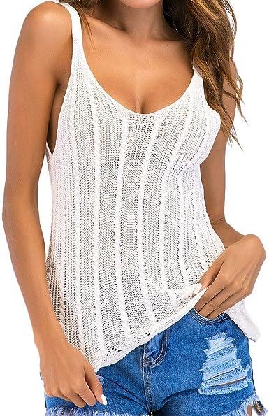 Camisetas Mujer Verano Mortificante Hollow Crochet Tank Camisole Chaleco Blusa Sujetador Cultivar Top Delgado PequeñA Camisa Que Basa La Camisa Corta Beladla: Amazon.es: Ropa y accesorios