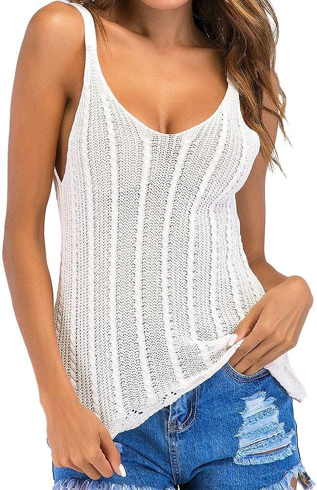 Tefamore-Tops Camiseta de Tirantes para Mujer Punto con Cuello en ...