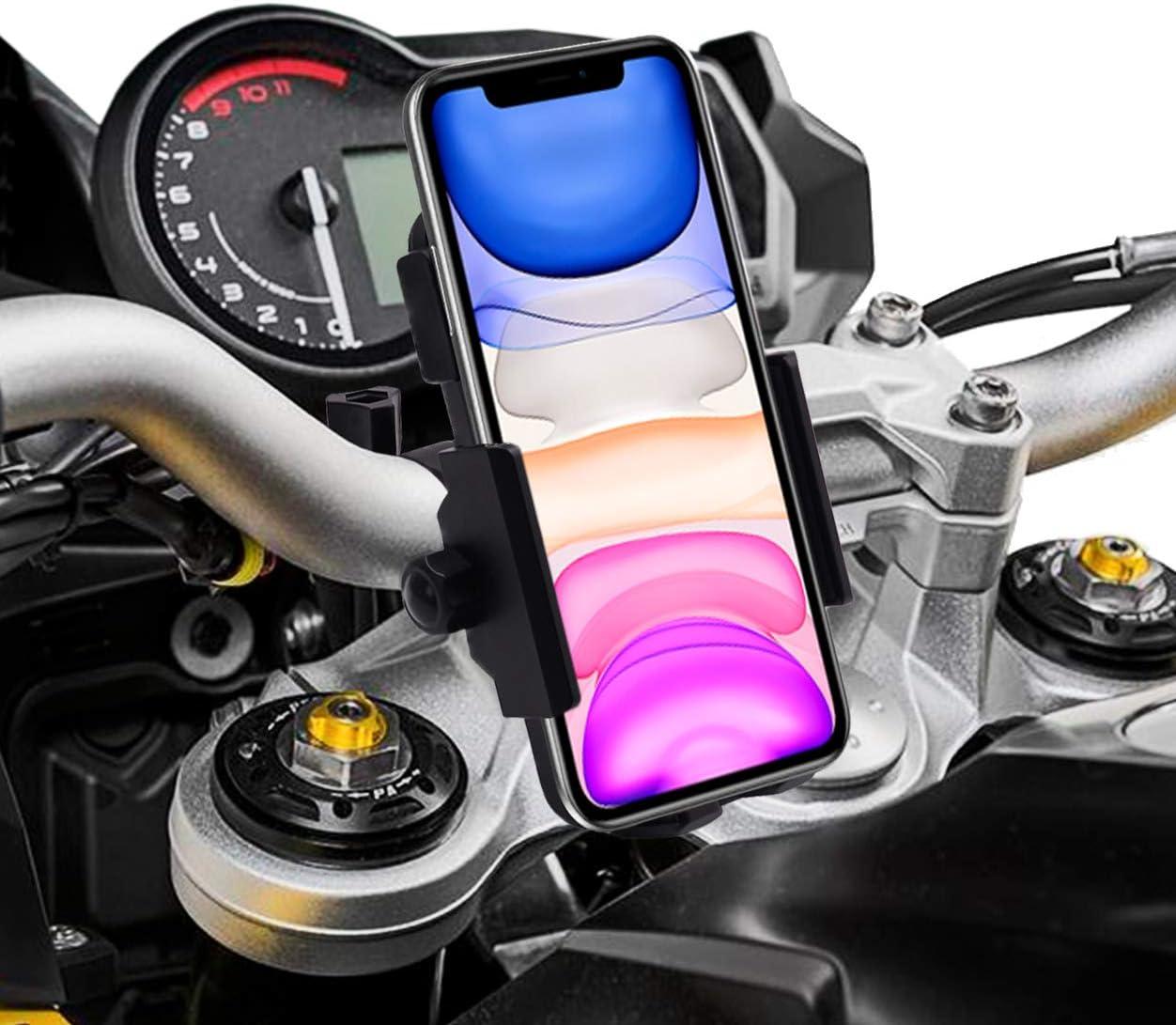 Kadeva Cargador inalambrico movil Moto Carga rapida 10W Doble sujecion al Manillar y Espejo retrovisor