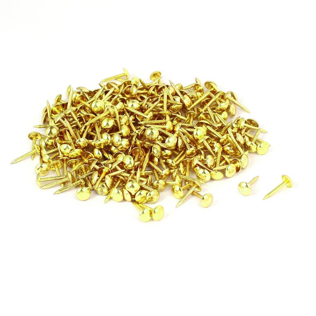 uxcell Home Furniture 6mm x 14mm Upholstery Thumb Tack Nail Push Pin Gold Tone 300pcs