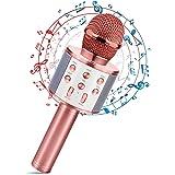Micrófono Karaoke Bluetooth, Portátil Inalámbrica Micrófono y Altavoz del Karaoke con LED para Niños Canta Partido Música, el
