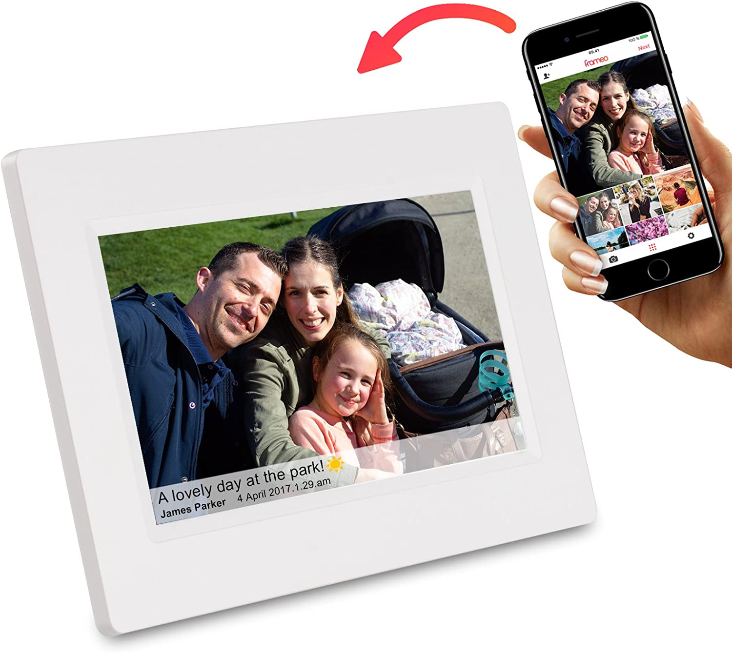 Feelcare 7 Inch Smart WiFi Digital Picture Frame with Touch Screen, Send Photos or Small Videos from Anywhere, IPS LCD Panel, Built in 8GB Memory, Wall-Mountable, Portrait&Landscape(White)