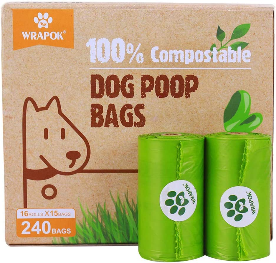 WRAPOK 100% Compostable Disposable Dog Poop Bags Large Leak Proof Biodegradable Waste Bag, Extra Thick 0.71 Mils, ASTM D6400 and Certified Earth Friendly - 9 x 13 Inches