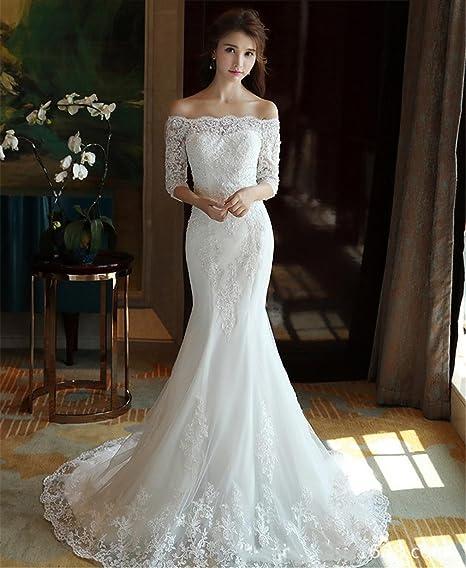pretty nice 84bb4 ccc7f LUCKY-U Donna Vestito da Sposa Sirena Lungo Vestiti da Sera ...