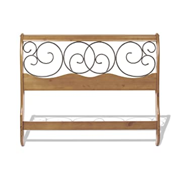 dunhill wood headboard with sleigh style design and autumn brown metal swirling scrolls honey oak
