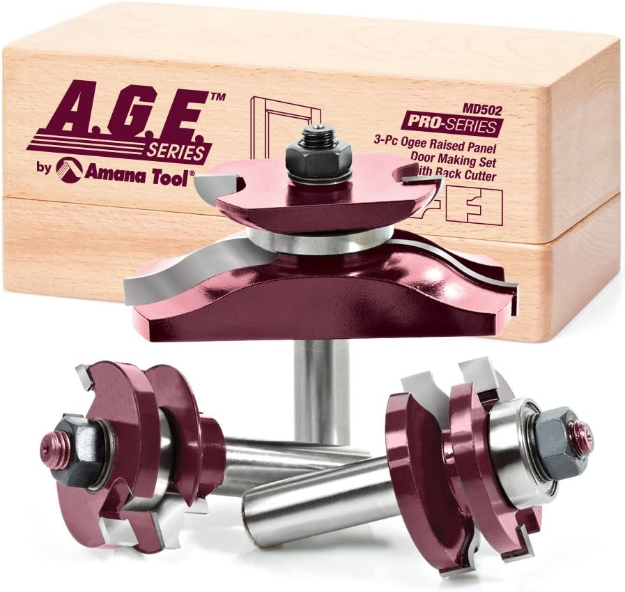 A.G.E. Series MD502 Raised Panel Door Making Carbide Tipped Router Bit Set