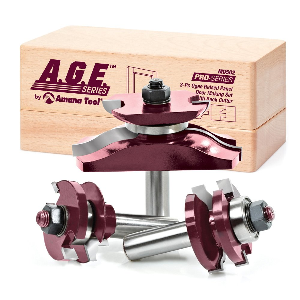 A.G.E. Series by Amana Tool MD502 Raised Panel Door Making Carbide Tipped Router Bit Set  with Back Cutter with 1/2-Inch Shank, 3-Piece by A.G.E. Series by Amana Tool