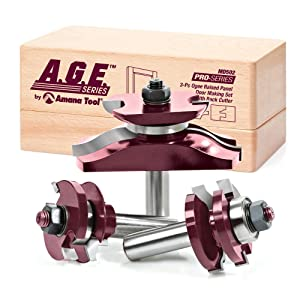 A.G.E. Series by Amana Tool MD502 Raised Panel Door Making Carbide Tipped Router Bit Setwith Back Cutter with 1/2-Inch Shank, 3-Piece