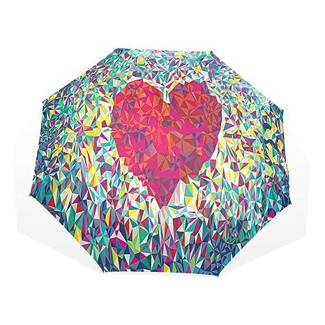 e118295437f1 Amazon.com: HangWang Umbrella Love Heart Abstract Pattern Travel ...
