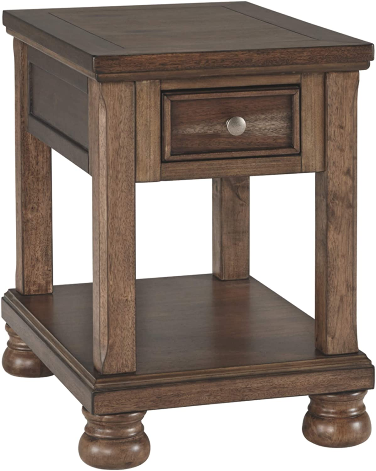 Ashley Furniture Signature Design - Flynnter Casual Chair Side End Table with Storage - Medium Brown