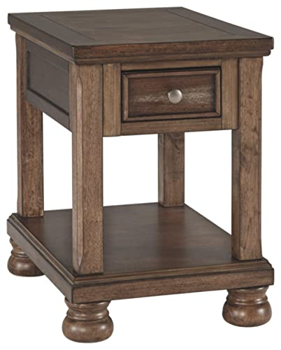 Signature Design by Ashley – Flynnter chairside End Table, Medium Brown