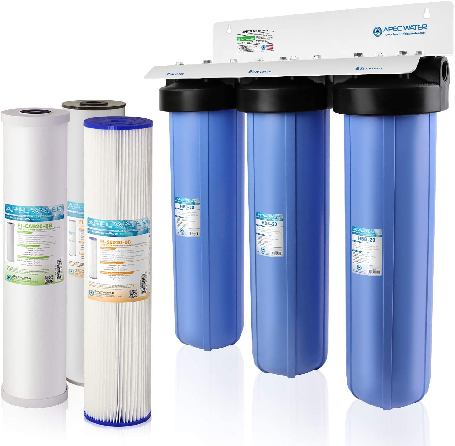 APEC CB3-SED-IRON-CAB20-BB 3-Stage Whole House Water Filter