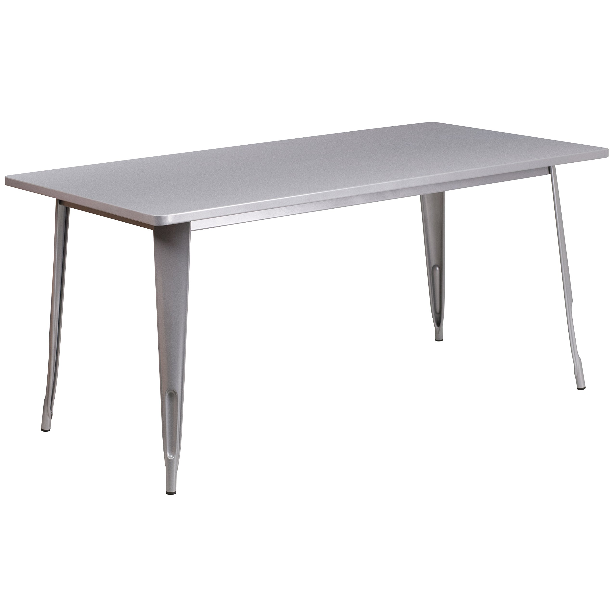 Flash Furniture 31.5'' x 63'' Rectangular Silver Metal Indoor-Outdoor Table - ET-CT005-SIL-GG