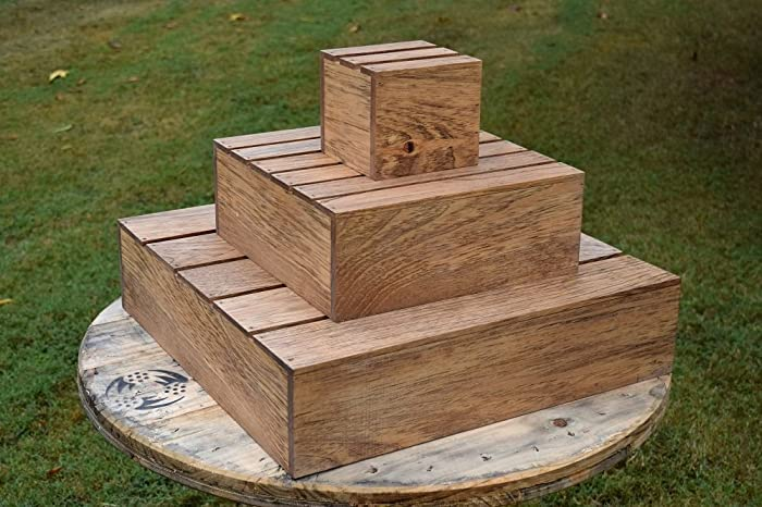 Amazon.com: Wooden 3 Tier Cupcake Tower Stand - Wedding Cake Stand ...