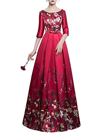 JoJoBridal Womens Floral Satin Long Prom Dresses Evening Gowns Sleeves Red Size 2