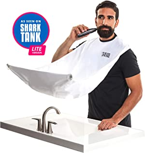 Beard Bib - Official BEARD KING Beard Catcher - Mens Grooming Cape For Shaping and Trimming - One Size Fits All - Static and Stick Free Fabric - White - (Lite)