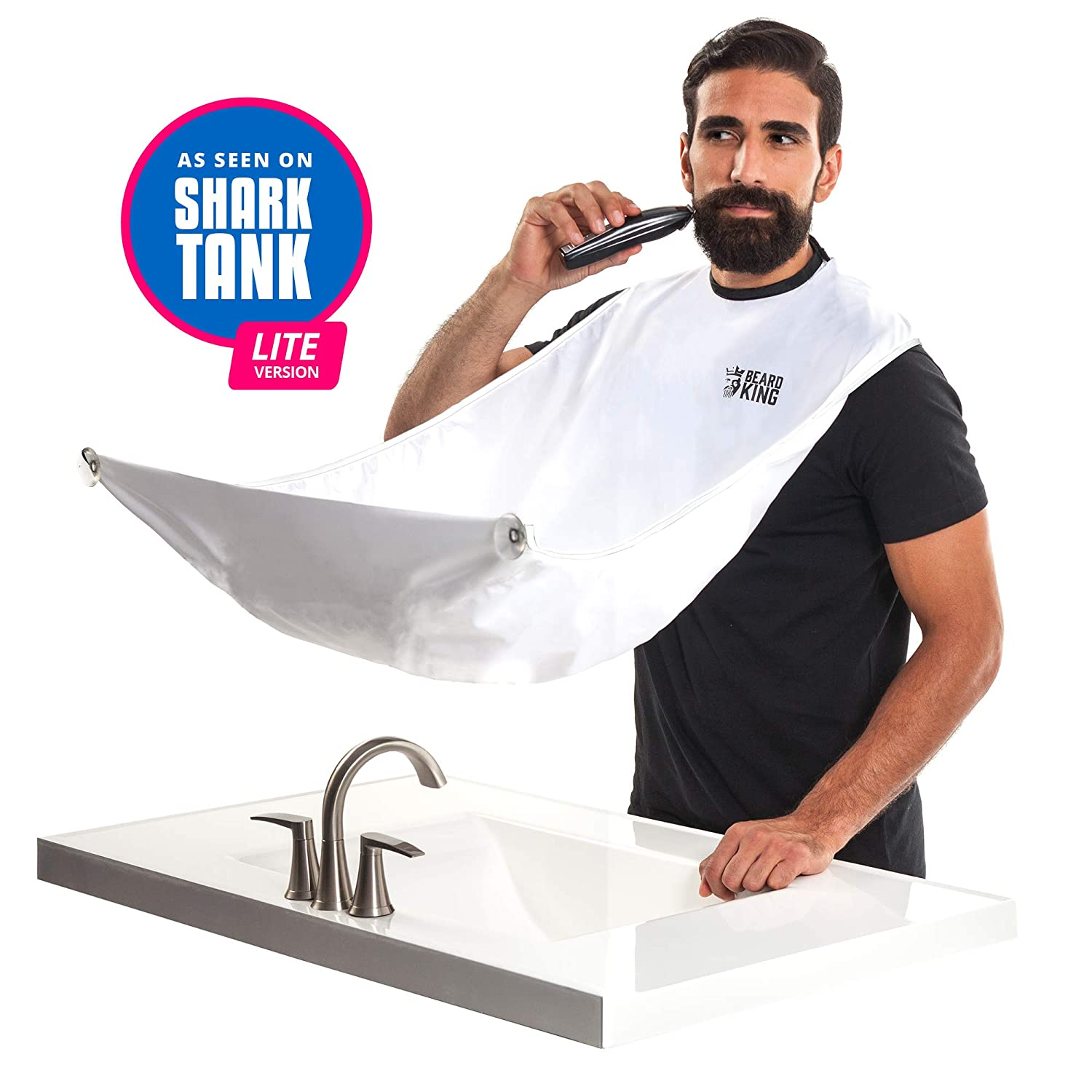 "BEARD KING - The Official Beard Bib - Hair Clippings Catcher & Grooming Cape Apron - ""As Seen on Shark Tank"" - White (Lite Version)"