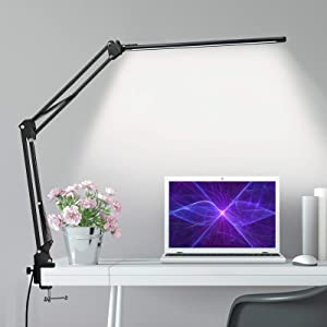 HaFundy LED Desk Lamp [Ultra-Thin Lamp Bar],Metal Swing Arm Desk Light with Clamp,Eye-Caring Desk Lamp, Architect Modern Desk Lamps,3 Color Modes,10 Dimmable Brightness,12W Desk Lamps for Home Office